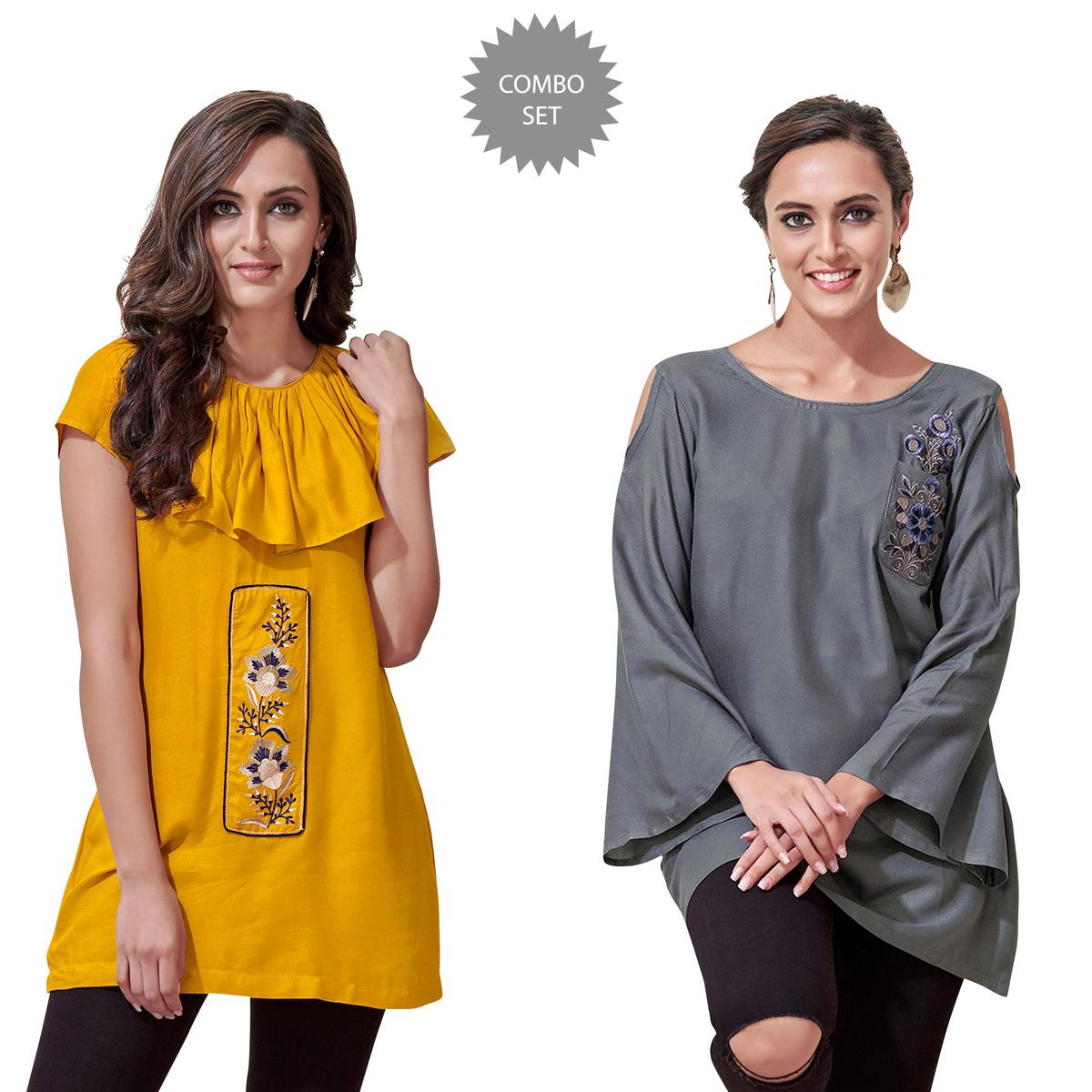 Glowing Partywear Embroidered Rayon Western Top - Pack of 2