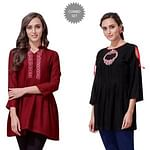 Exceptional Partywear Embroidered Rayon Western Top - Pack of 2