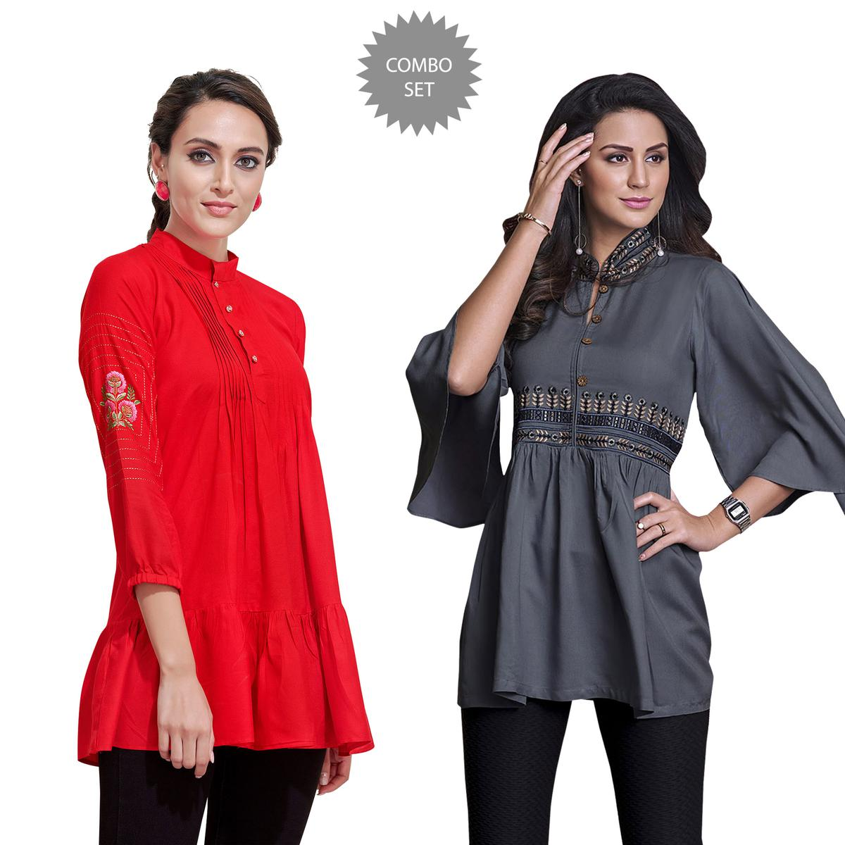 Preferable Partywear Embroidered Rayon Western Top - Pack of 2