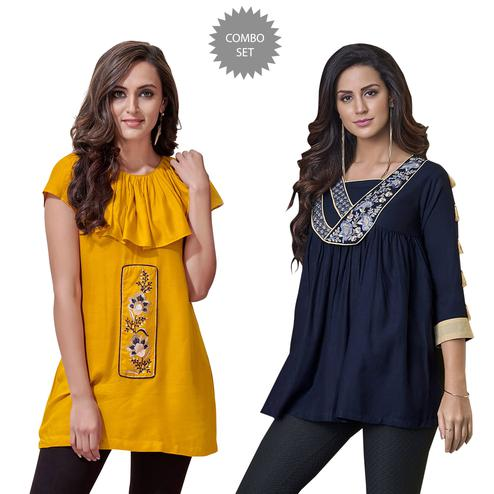 Marvellous Partywear Embroidered Rayon Western Top - Pack of 2