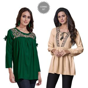 Flamboyant Partywear Embroidered Rayon Western Top - Pack of 2