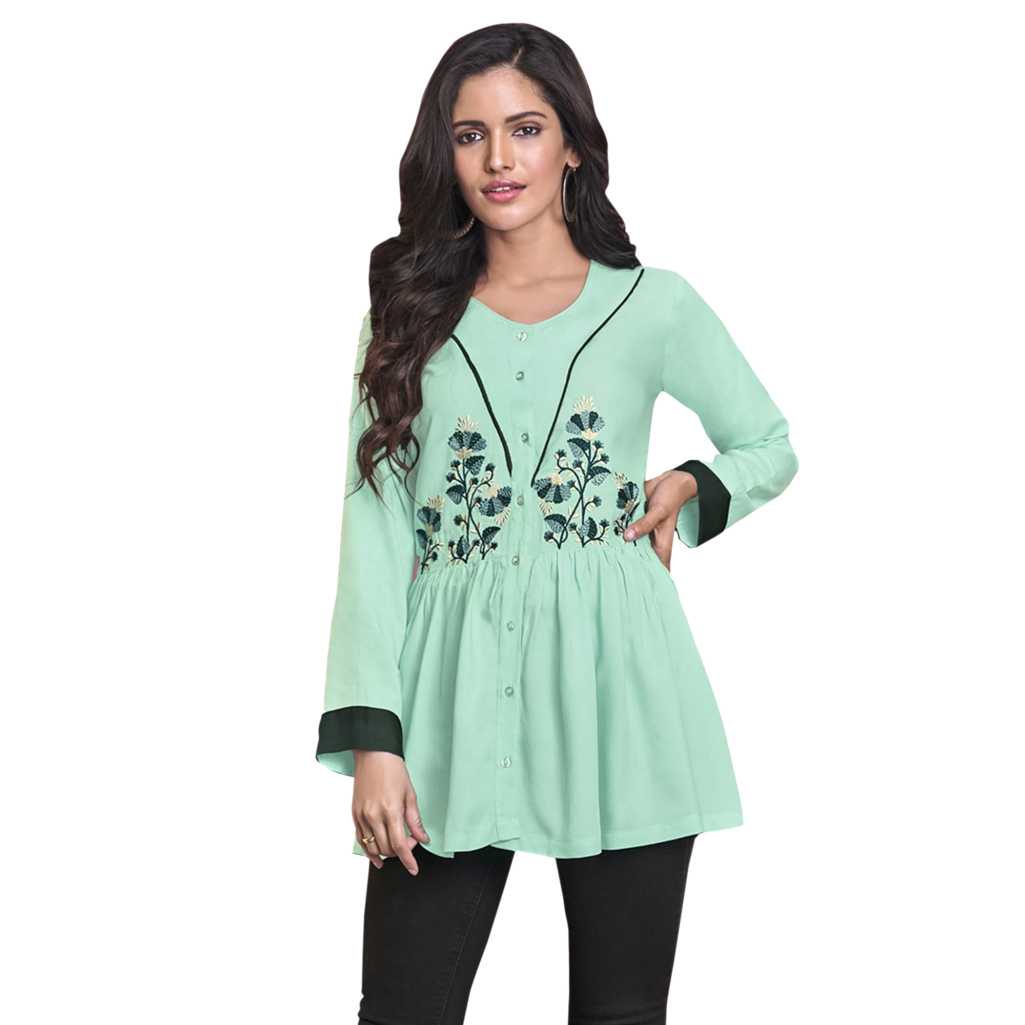 Pretty Partywear Embroidered Rayon Western Top - Pack of 2