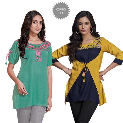 Sensational Partywear Embroidered Rayon Western Top - Pack of 2