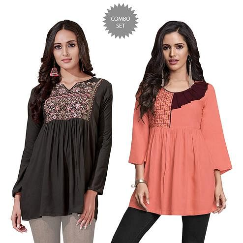 Flaunt Partywear Embroidered Rayon Western Top - Pack of 2