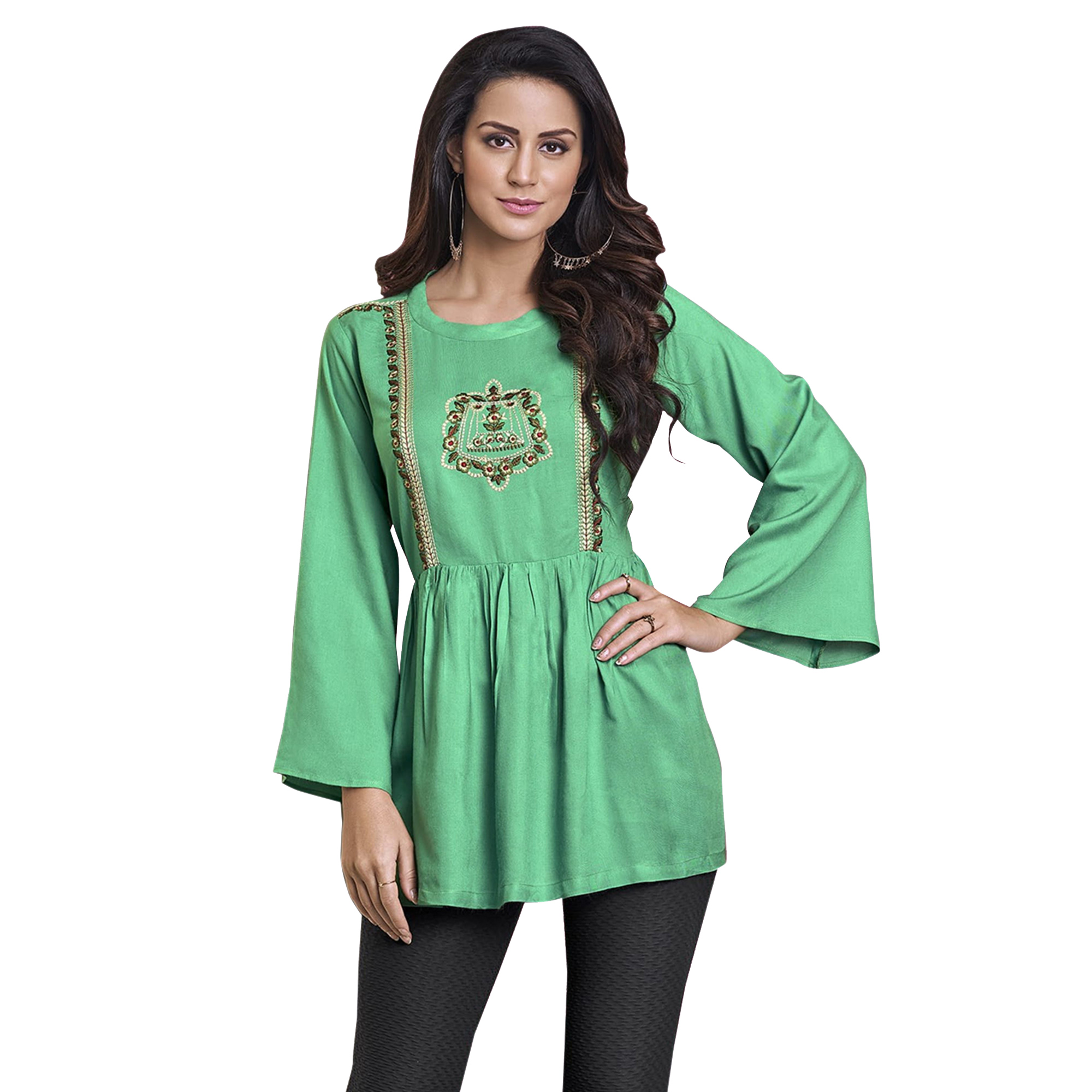 Stunning Partywear Embroidered Rayon Western Top - Pack of 2