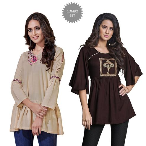 Surpassing Partywear Embroidered Rayon Western Top - Pack of 2