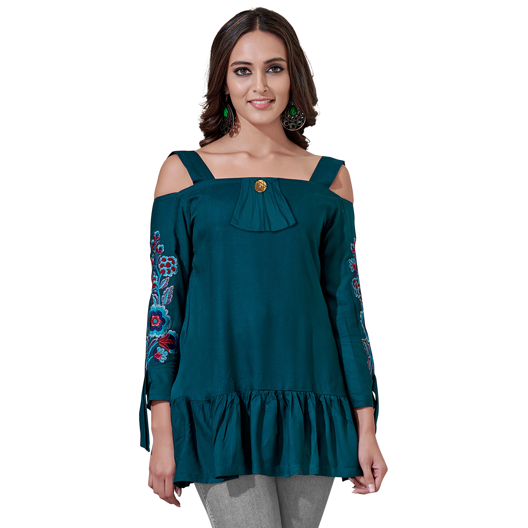 Dazzling Partywear Embroidered Rayon Western Top - Pack of 2