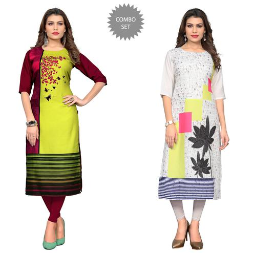 Beautiful Casual Printed Crepe Kurti - Pack of 2
