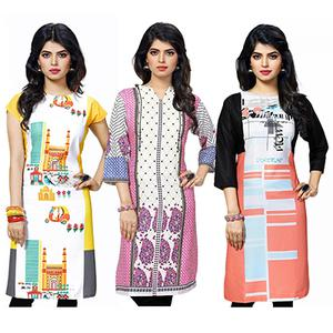 Pack of 3 Printed Crepe Kurti
