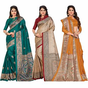 Classy Casual Printed Bhagalpuri Silk Saree (Pack of 3)