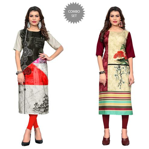 Jazzy Casual Printed Crepe Kurti - Pack of 2