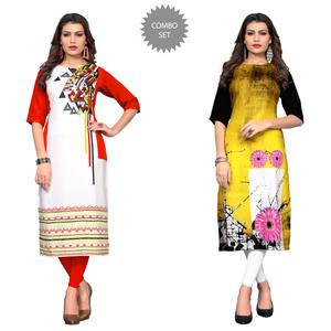 Delightful Casual Printed Crepe Kurti - Pack of 2