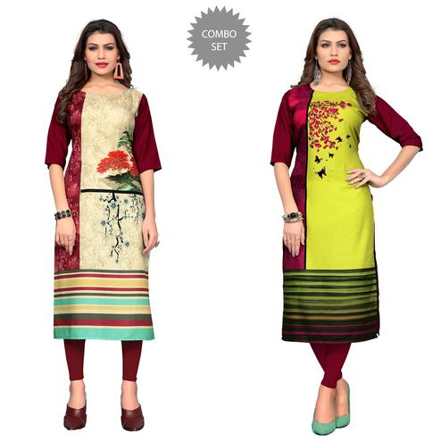 Captivating Casual Printed Crepe Kurti - Pack of 2