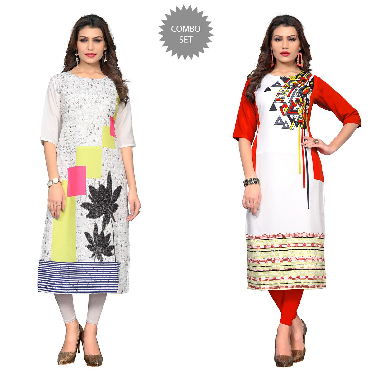 Gleaming Casual Printed Crepe Kurti - Pack of 2