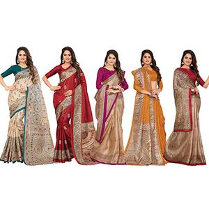 Lovely Casual Printed Bhagalpuri Silk Saree (Pack of 5)