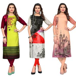Refreshing Casual Printed Crepe Kurti - Pack of 3