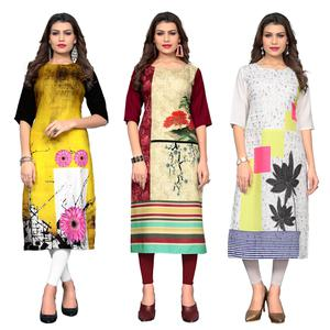 Magnetic Casual Printed Crepe Kurti - Pack of 3