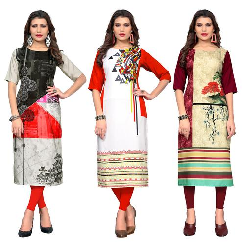 Stunning Casual Printed Crepe Kurti - Pack of 3