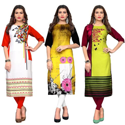 Dazzling Casual Printed Crepe Kurti - Pack of 3