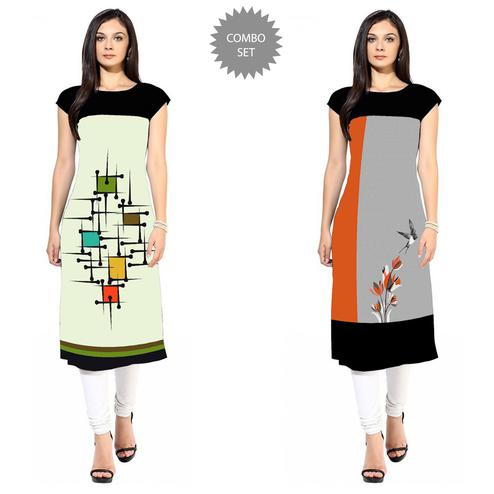 Charming Colored Casual Printed Crepe Kurti - Pack of 2