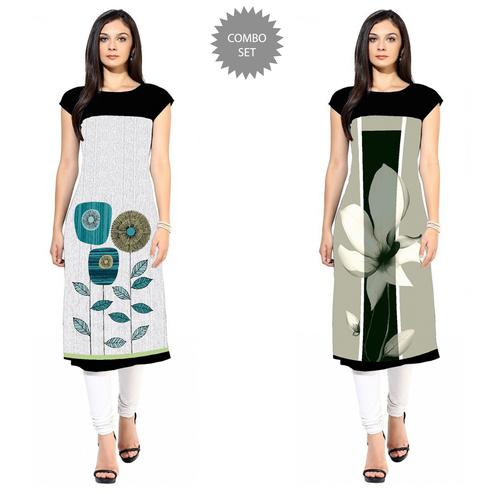 Innovative Colored Casual Printed Crepe Kurti - Pack of 2