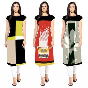 Trendy Colored Casual Printed Crepe Kurti - Pack of 3