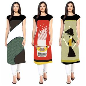 Elegant Colored Casual Printed Crepe Kurti - Pack of 3