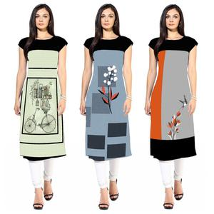 Energetic Colored Casual Printed Crepe Kurti - Pack of 3