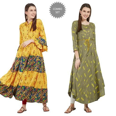 Elegant Colored Partywear Printed Rayon-Cotton Kurti - Pack of 2