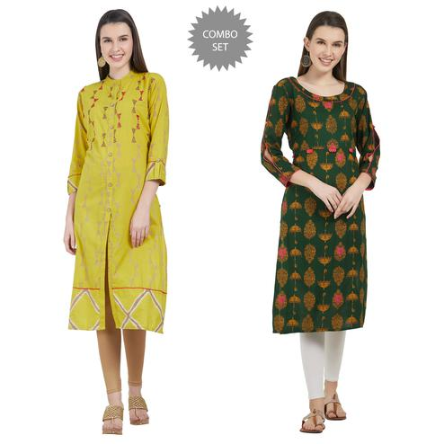 Energetic Colored Partywear Printed Cotton Kurti - Pack of 2