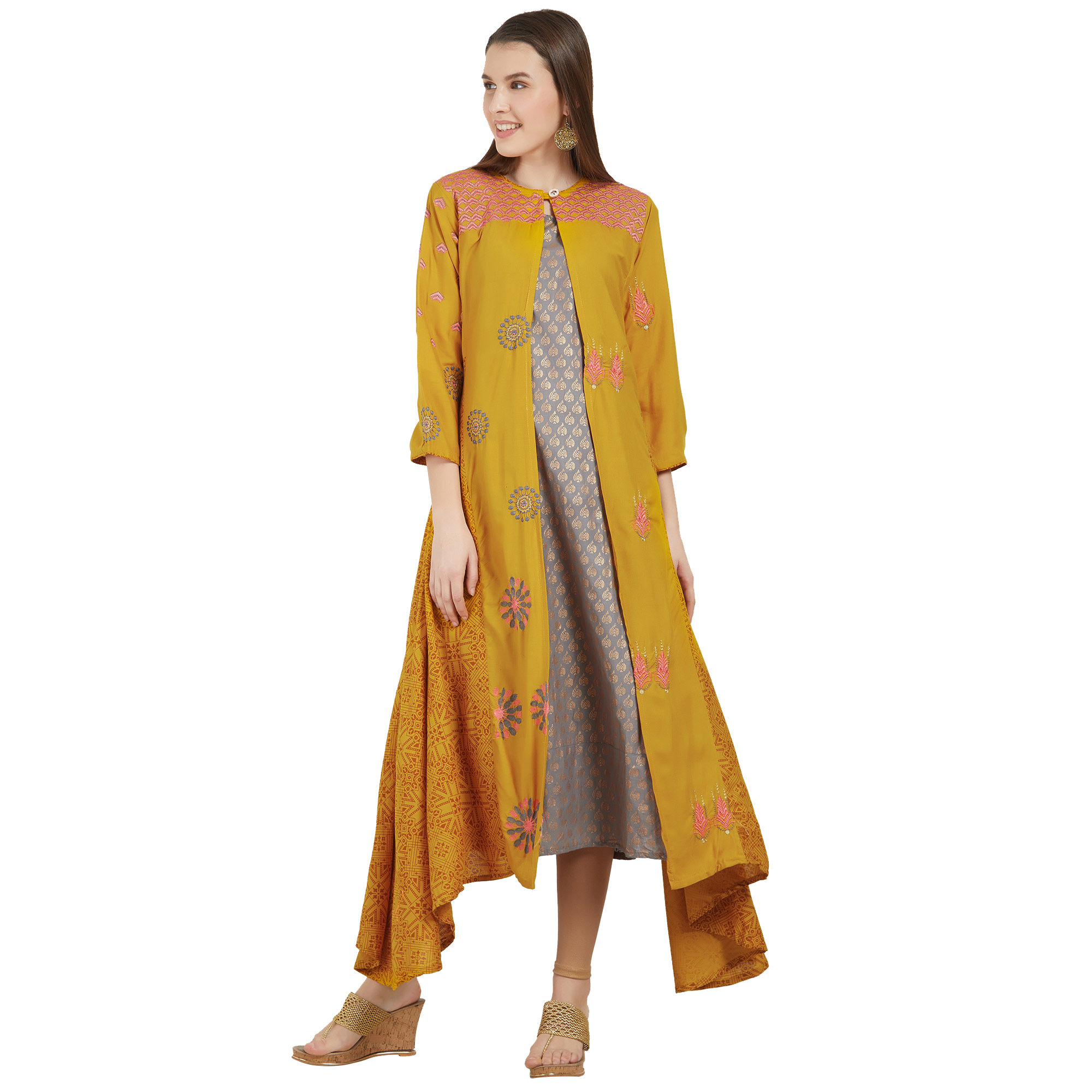 Glowing Colored Partywear Printed Rayon-Cotton Kurti - Pack of 2