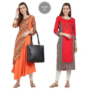 Exceptional Colored Partywear Printed Rayon Kurti - Pack of 2