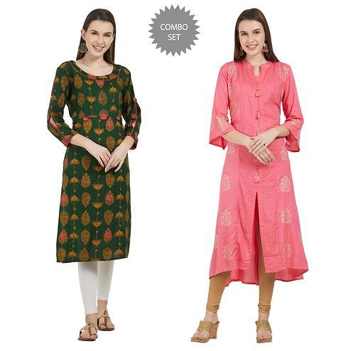 Mesmeric Colored Partywear Printed Cotton Kurti - Pack of 2