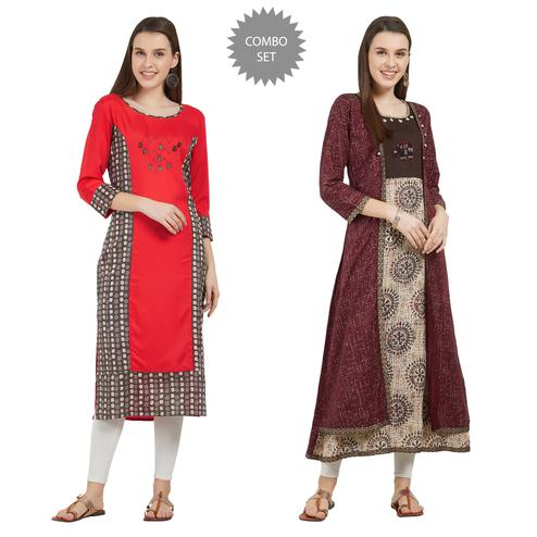Unique Colored Partywear Printed Rayon-Cotton Kurti - Pack of 2