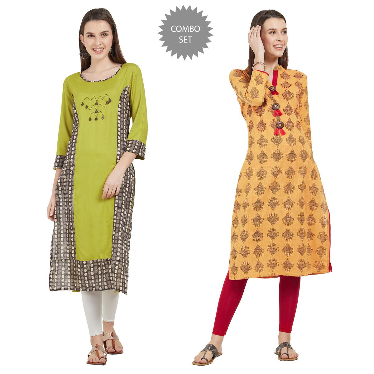 Demanding Colored Partywear Printed Rayon-Cotton Kurti - Pack of 2