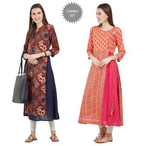 Refreshing Colored Partywear Printed Cotton-Rayon Kurti - Pack of 2