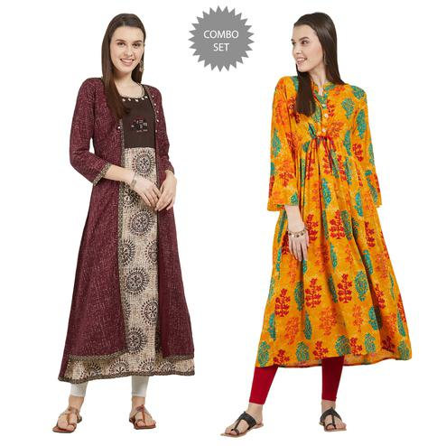 Ideal Colored Partywear Printed Cotton Kurti - Pack of 2
