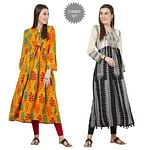 Imposing Colored Partywear Printed Cotton Kurti - Pack of 2