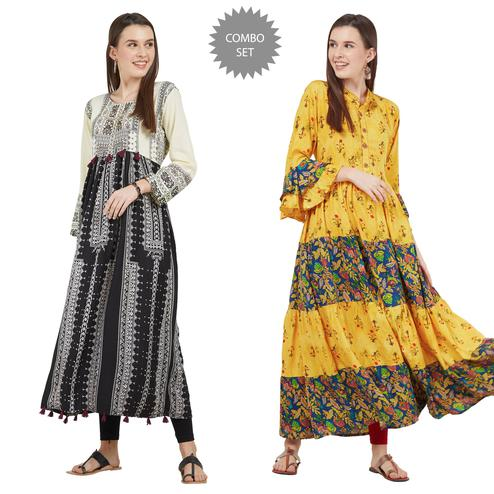Mesmerising Colored Partywear Printed Cotton-Rayon Kurti - Pack of 2