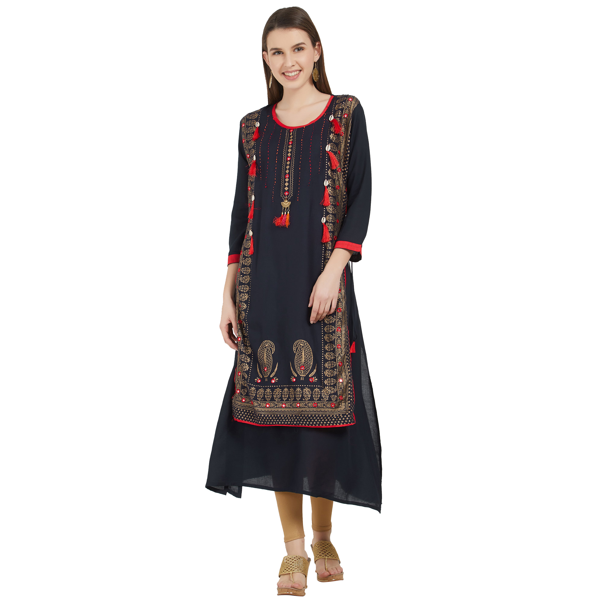 Pleasance Colored Partywear Printed Cotton Kurti - Pack of 2