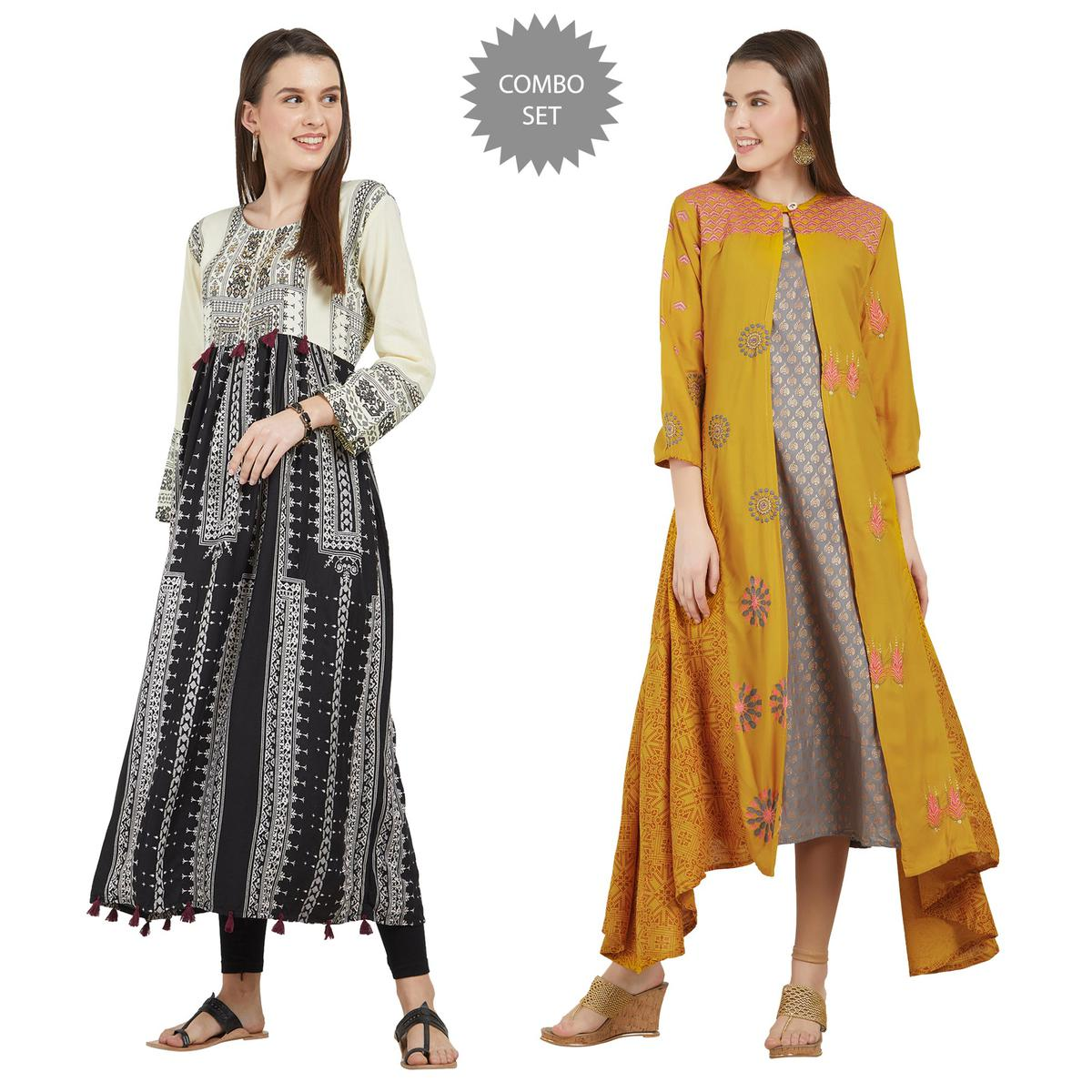 Ethnic Colored Partywear Printed Cotton-Rayon Kurti - Pack of 2