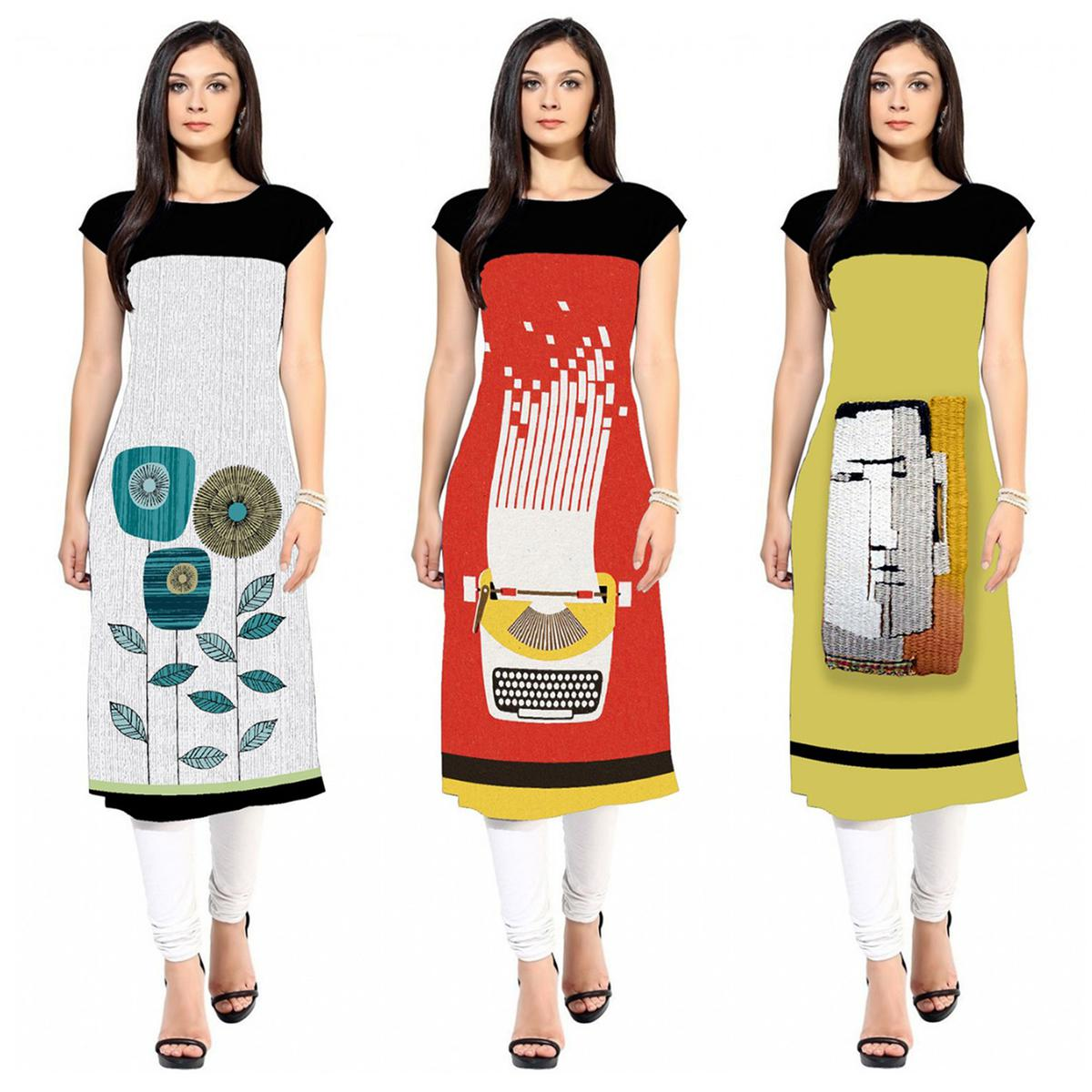 Opulent Colored Casual Printed Crepe Kurti - Pack of 3