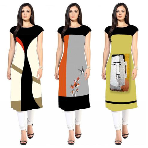 Sophisticated Colored Casual Printed Crepe Kurti - Pack of 3