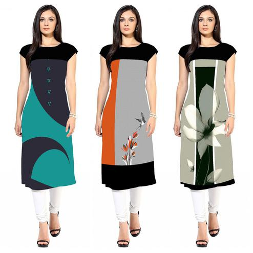 Pleasant Colored Casual Printed Crepe Kurti - Pack of 3