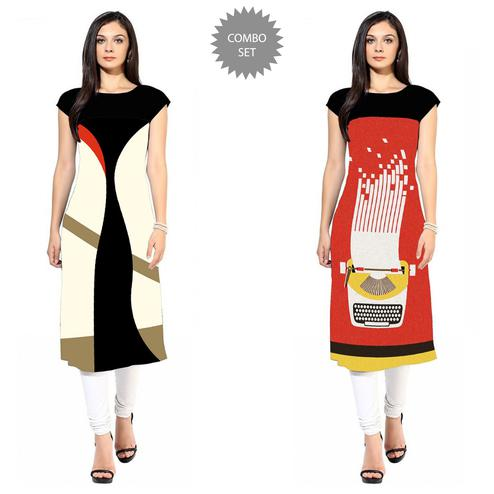 Adorable Colored Casual Printed Crepe Kurti - Pack of 2