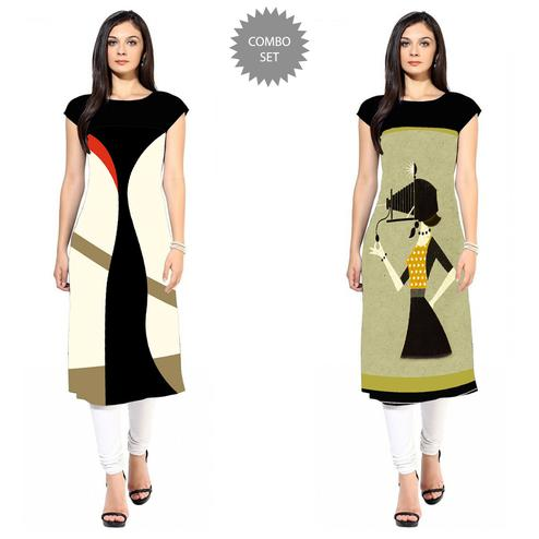 Glorious Colored Casual Printed Crepe Kurti - Pack of 2