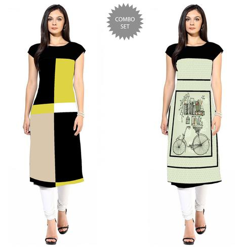 Beautiful Colored Casual Printed Crepe Kurti - Pack of 2