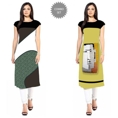 Blooming Colored Casual Printed Crepe Kurti - Pack of 2