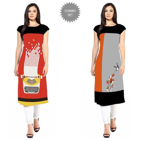 Delightful Colored Casual Printed Crepe Kurti - Pack of 2