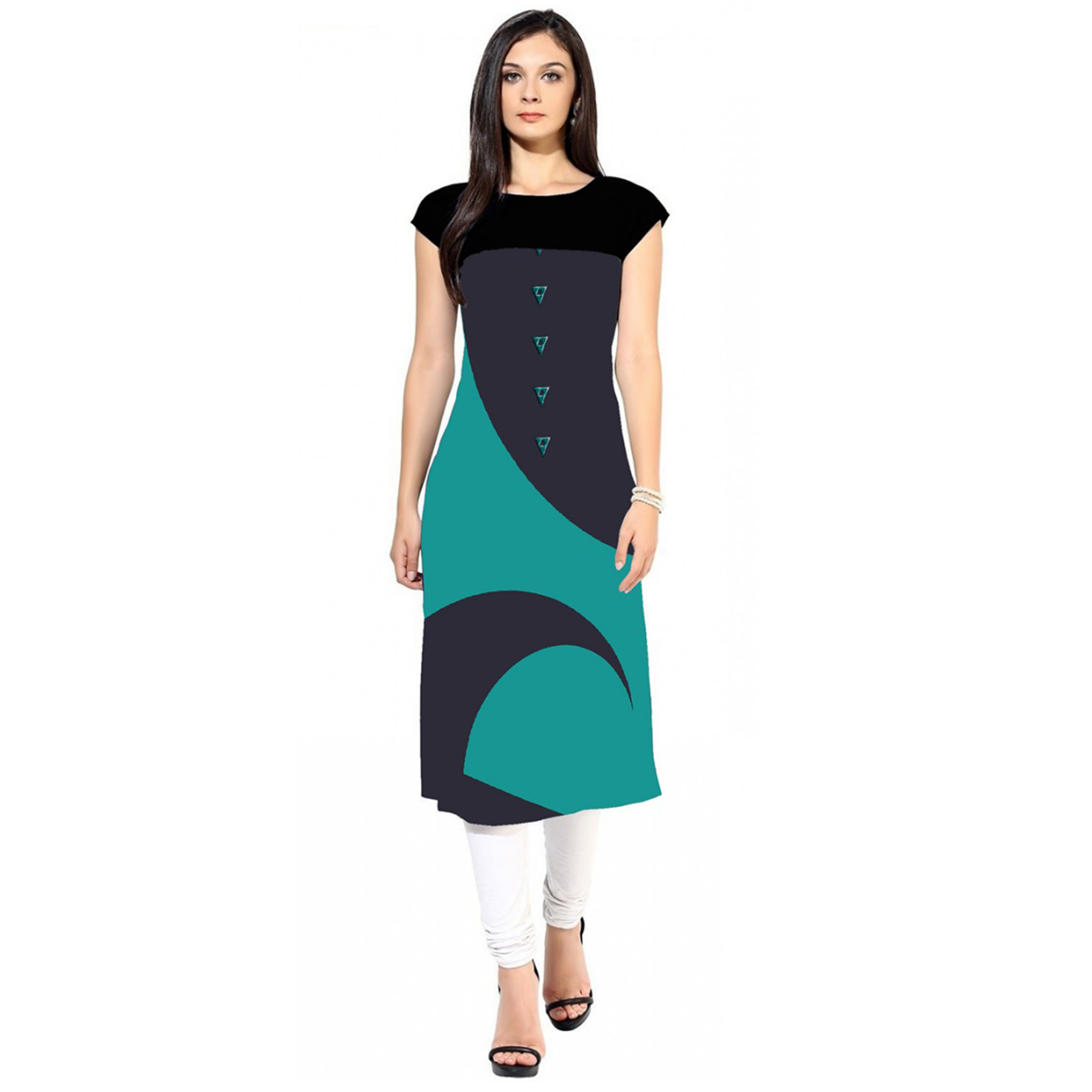 Captivating Colored Casual Printed Crepe Kurti - Pack of 2